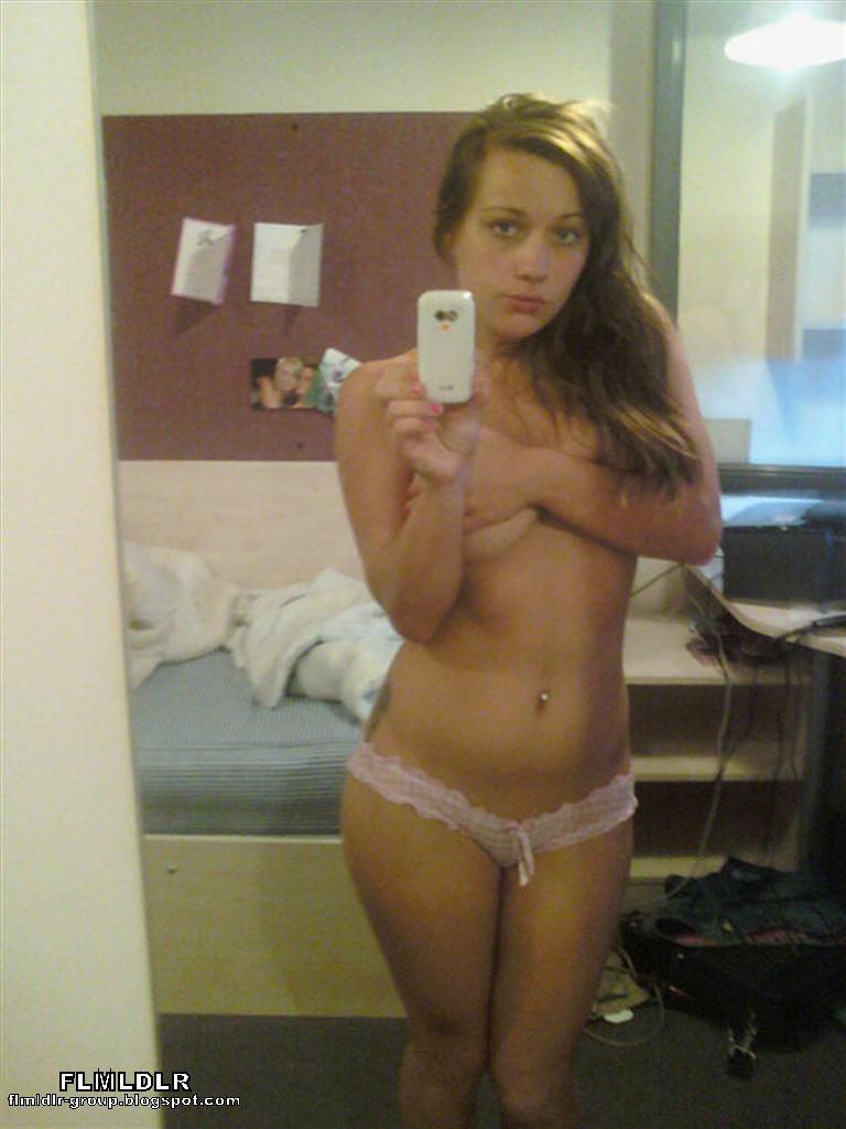 naked coed girl on cell phone