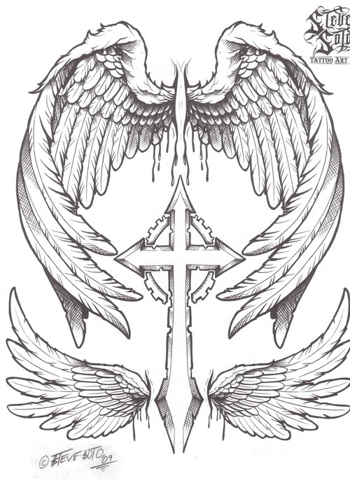 Эскизы тату крестов с крыльями