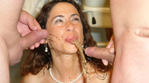 Pissing porn piss drenched queenie sucks cock and gets wet